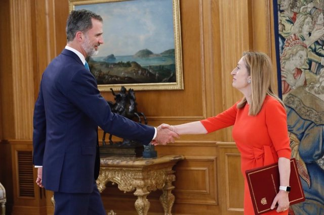 El Rey recibe a la presidenta del Congreso