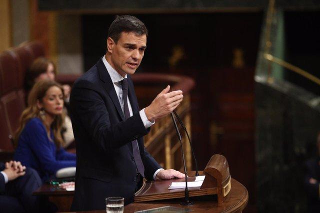 Pedro Sánchez durante el debate de la moción de censura