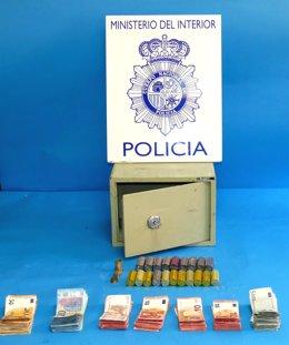 Caja fuerte y recaudación recuperados por la Policía
