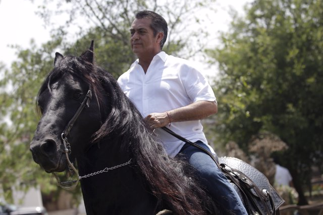 Jaime Rodriguez, governor-elect of Nuevo Leon state, rides on his horse inside h