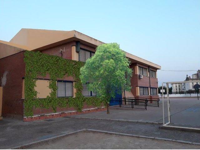 Recreación del colegio 'Andalucía' con árboles y vegetación