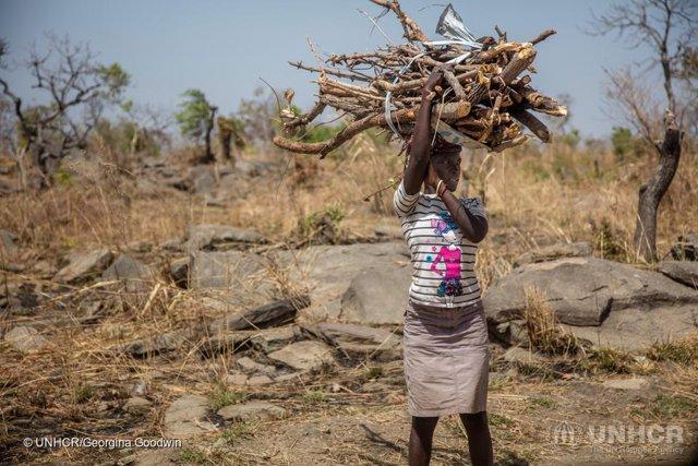 Una refugiada sursudanesa en Uganda