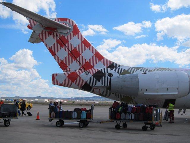 Uno de los aviones que cubre las rutas de Zaragoza con Munich y Venecia