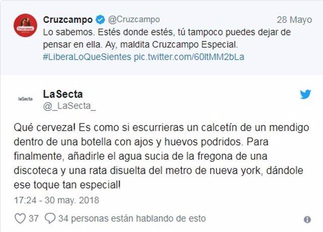 Crítica en Twitter a Cruzcampo