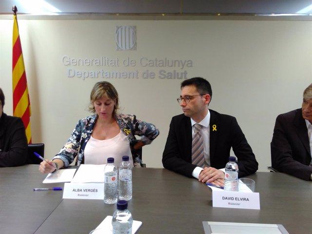 La consellera Alba Vergés y el director del CatSalut en su primera reunión
