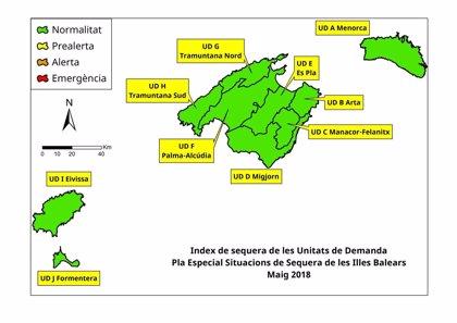 Las reservas hídricas se sitúan por encima del 50% en Baleares aunque descienden en comparación con abril