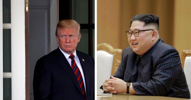 Foto de archivo de Donald Trump y Kim Jong un