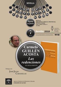 CARTEL DEL CICLO LETRAS CAPITALES. CARMELO GUILLÉN ACOSTA