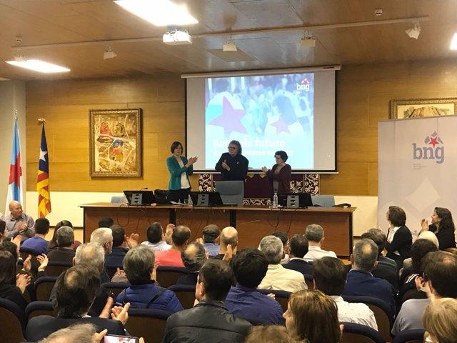 Tardà en un acto en Santiago con Ana Pontón