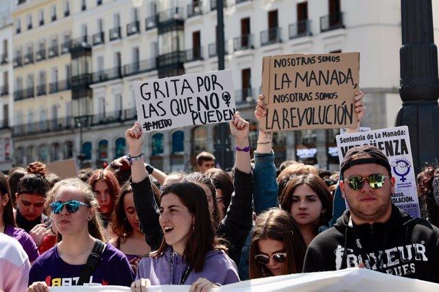 Manifestación en Madrid para protestar por la sentencia de La Manada