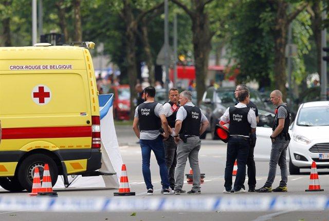 Alrededores de la escena del tiroteo en Lieja, Bélgica