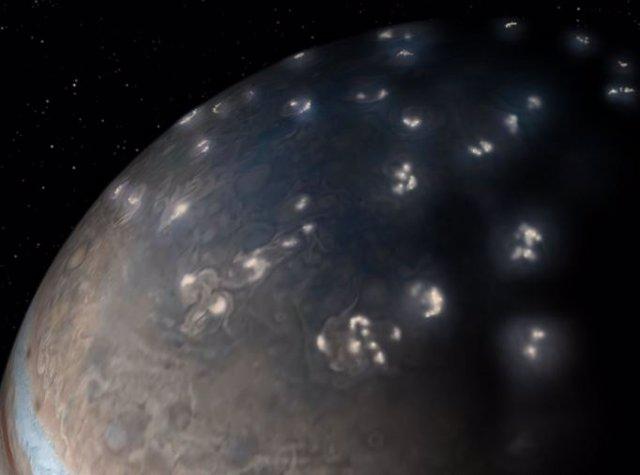 Realce artístico de rayos detectados por Juno en Júpiter