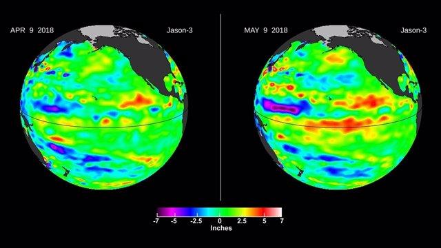 Una onda Kelvin (en rojo) aparece en el Pacífico ecuatorial
