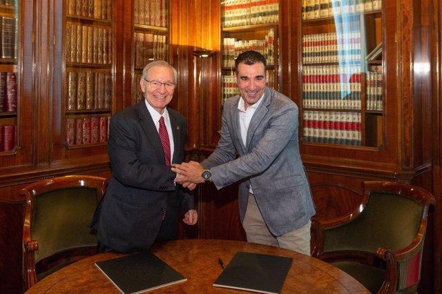 Valls (Cámara de Barcelona) y Vicente (Barcelona Tech City)
