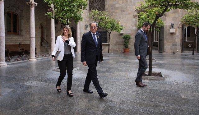 La consellera E.Artadi, el pte.Q.Torra y el secretario del Govern V.Cullell.