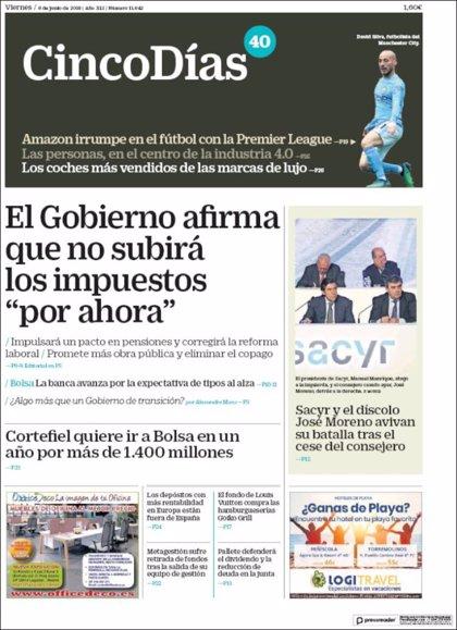 Las portadas de los periódicos económicos de hoy, viernes 8 de junio