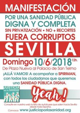 Cartel de la manifestación en Sevilla voncocada por Candel