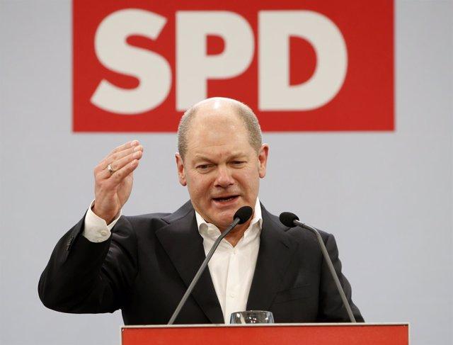Olaf Scholz, ministro de Finanzas alemán, en un acto del SPD