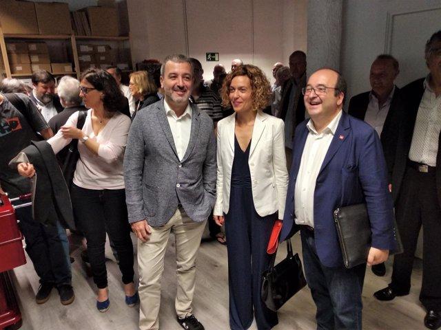 Jaume Collboni, Meritxell Batet y Miquel Iceta en un acto del PSC