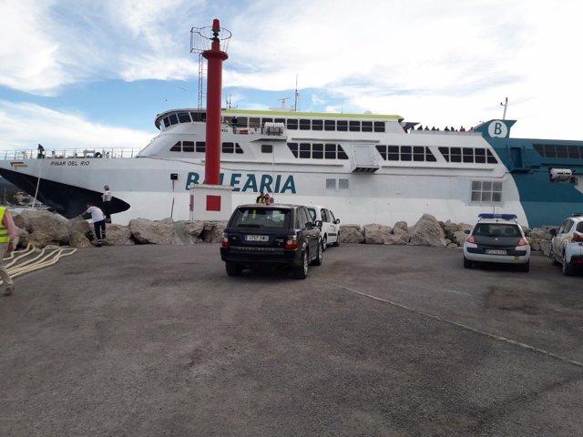 El buque 'Pinar del Río' de Baleària, que sufrió un incidente este viernes