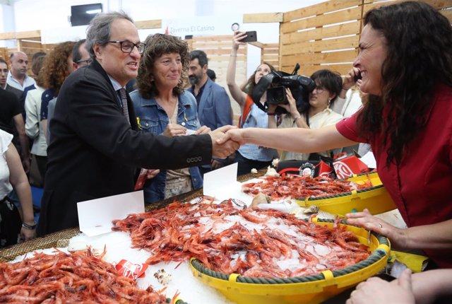 El presidente Quim Torra y la consellera Teresa Jordà en Palamós