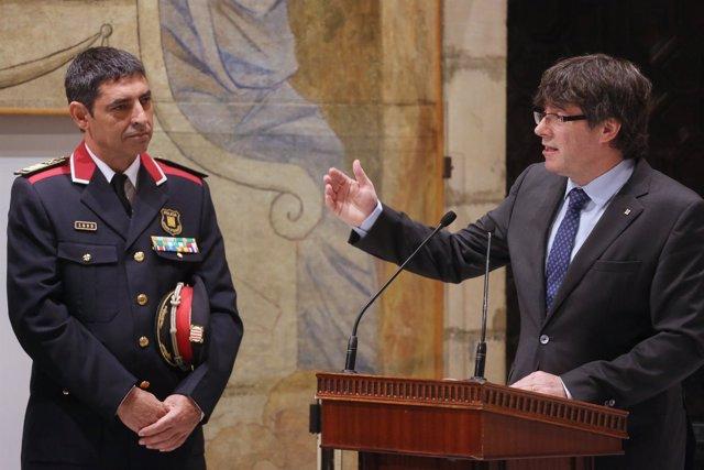 El presidente de la Generalitat, C.Puigdemont, y el Mayor de Mossos, J.L.Trapero