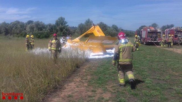 Accidente de una avioneta en un aterrizaje forzoso