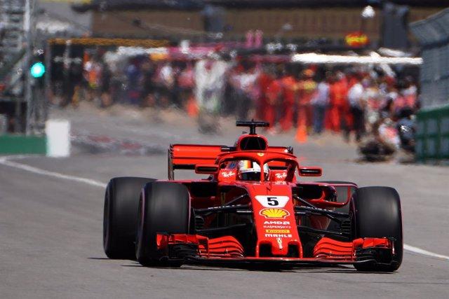 Ferrari's Sebastian Vettel drives during a practice session at Circuit Gilles Vi