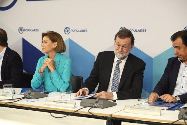 Rajoy y Cospedal durante la reunión del Comité Ejecutivo Nacional del PP