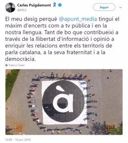 Tuit de Carles Puigdemont sobre À Punt