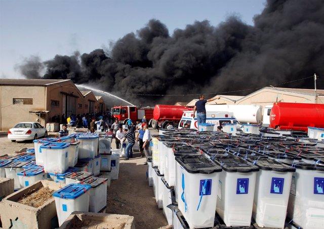 Incendio en almacén electoral de Bagdad