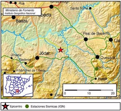 Registrado un terremoto de magnitud 3,1 con epicentro al noreste de Jódar (Jaén)