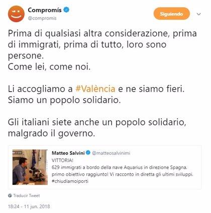 """Compromís responde a Salvini que """"antes de todo"""", las personas que se encuentran en el Aquarius son personas"""