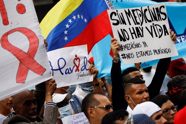 Protesta por la falta de medicamentos en Venezuela