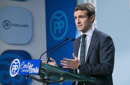 """Pablo Casado defiende el bipartidismo: """"Me gustaría que el PSOE gobernase sin las hipotecas de Bildu, ERC y Podemos"""""""