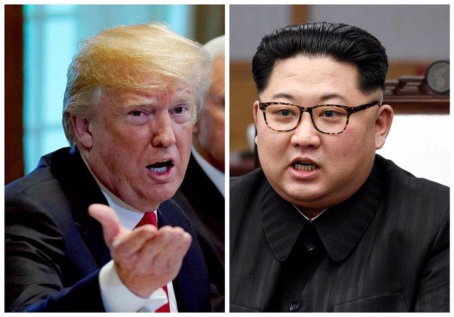 Fotomontaje que muestra a Trump y a Kim Jong Un