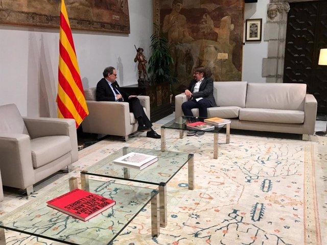 El presidente de la Generalitat, Quim Torra, con Xavier Domènech (CatComú)