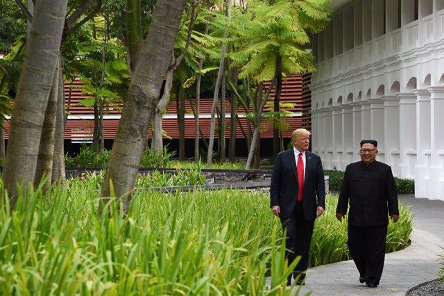El presidente de EEUU, Donald Trump, y el líder norcoreano, Kim Jong Un.