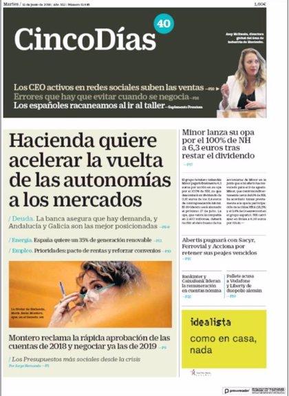 Las portadas de los periódicos económicos de hoy, martes 12 de junio
