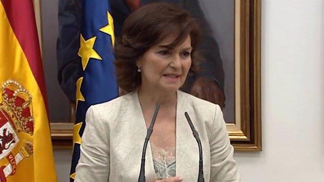 Carmen Calvo durante el traspaso de la cartera ministerial