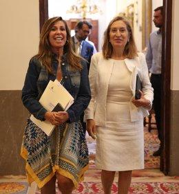 Alicia Sánchez-Camacho y Ana Pastor en los pasillos del Congreso