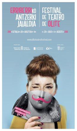 Cartel de la decimonovena edición del Festival de Teatro de Olite.