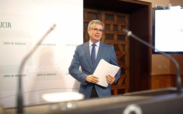 Juan Carlos Blanco, portavoz del Gobierno andaluz, en rueda de prensa