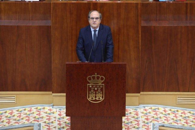 Ángel Gabilondo interviene en el pleno de investidura de Ángel Garrido