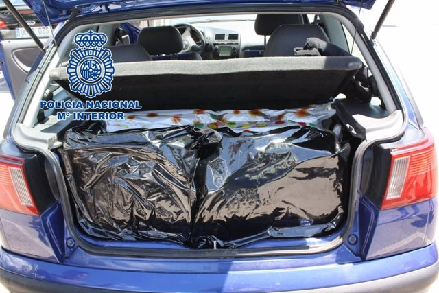 Cogollos de marihuana intervenidos en un coche en Granada