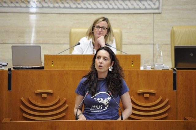 La diputada del PP Virginia Alberdi, con una camiseta de Amus