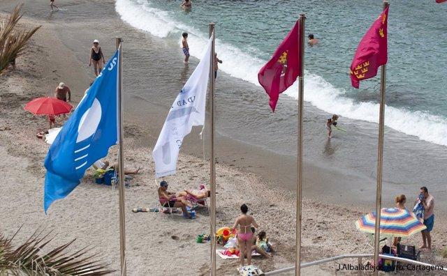 Izado banderas azules y Q de calidad en sus playas