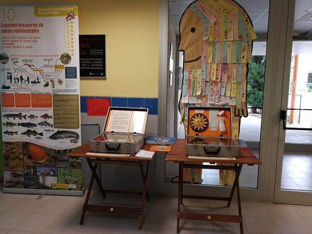 Exposición de la CHE sobre las especies invasoras instalada en el CRA de Tierz