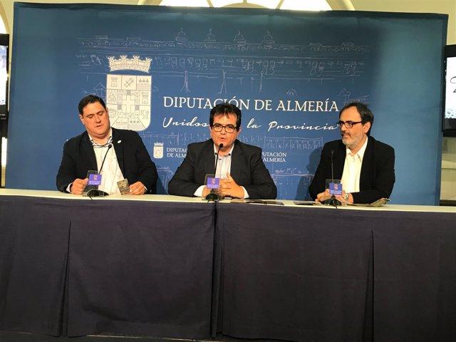 El diputado de Cultura, el responsable del IEA y el historiador Carlos Villoria.