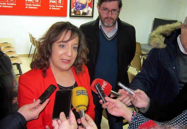 Salamanca.- Iratxe García atiende a los medios